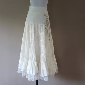 White Big Sweep Cotton Skirt Large Forever 21